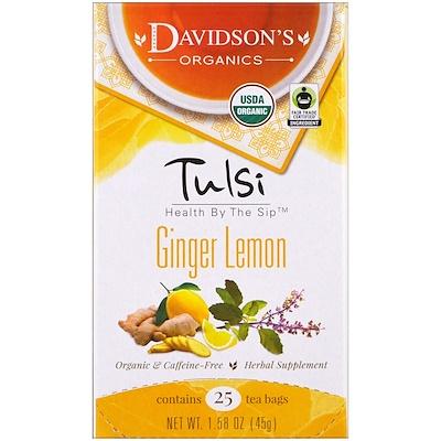 Davidson's Tea 圖爾西茶,有機,生薑檸檬茶,無咖啡因,25茶包,1.58盎司(45克)