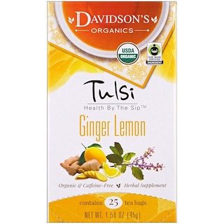 Davidson's Tea, Tulsi, Organic, Ginger Lemon Tea, Caffeine-Free , 25 Tea Bags, 1.58 oz (45 g)