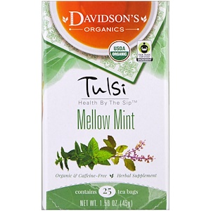 Дэвидсонс Ти, Tulsi, Mellow Mint Tea, Caffeine-Free, 25 Tea Bags, 1.58 oz (45 g) отзывы