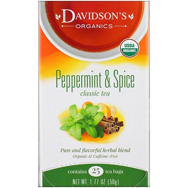 Davidson's Tea, 有機,綠薄荷和香料,經典茶,無咖啡因,25茶包,1、77盎司(50克)