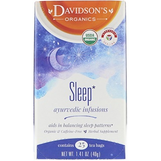 Davidson's Tea, Organic, Ayurvedic Infusions, Sleep, 25 Tea Bags, 1.41 oz (40 g)