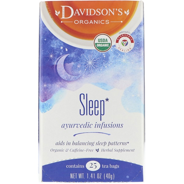 Davidson's Tea, Organic, Ayurvedic Infusions, Sleep, 25 Tea Bags, 1.41 oz (40 g) (Discontinued Item)