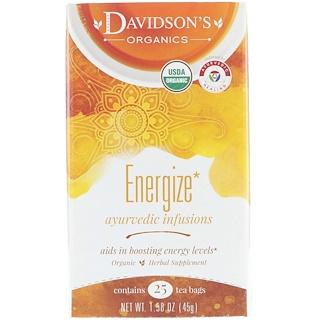 Davidson's Tea, Organic, Ayurvedic Infusions, Energize, 25 Tea Bags, 1.58 oz (45 g)