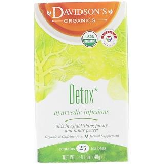 Davidson's Tea, Organic, Ayurvedic Infusions, Detox, 25 Tea Bags, 1.41 oz (40 g)