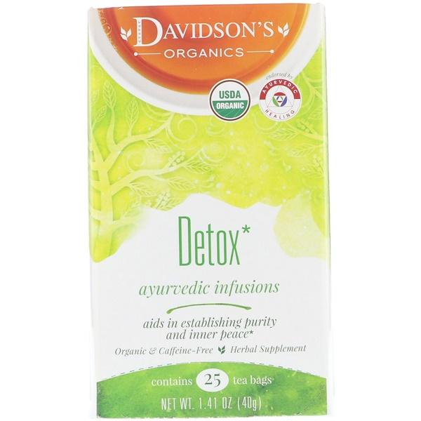 Davidson's Tea, Organic, Detox, Ayurvedic Infusions, Caffeine-Free, 25 Tea Bags, 1、41 oz (40 g)