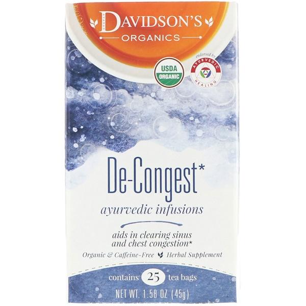 Davidson's Tea, Ayurvedic Infusions, De-Congest, 25 Tea Bags, 1.58 oz (45 g) (Discontinued Item)