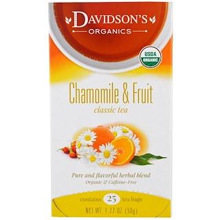 Davidson's Tea, Organic, Chamomile & Fruit Classic Tea, Caffeine-Free, 25 Tea Bags, 1.77 oz (50 g)