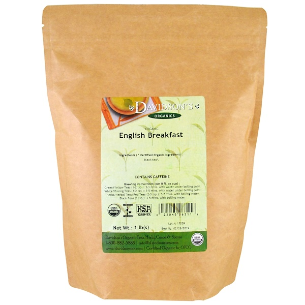 Davidson's Tea, Organic, English Breakfast Tea, 1 lb (Discontinued Item)