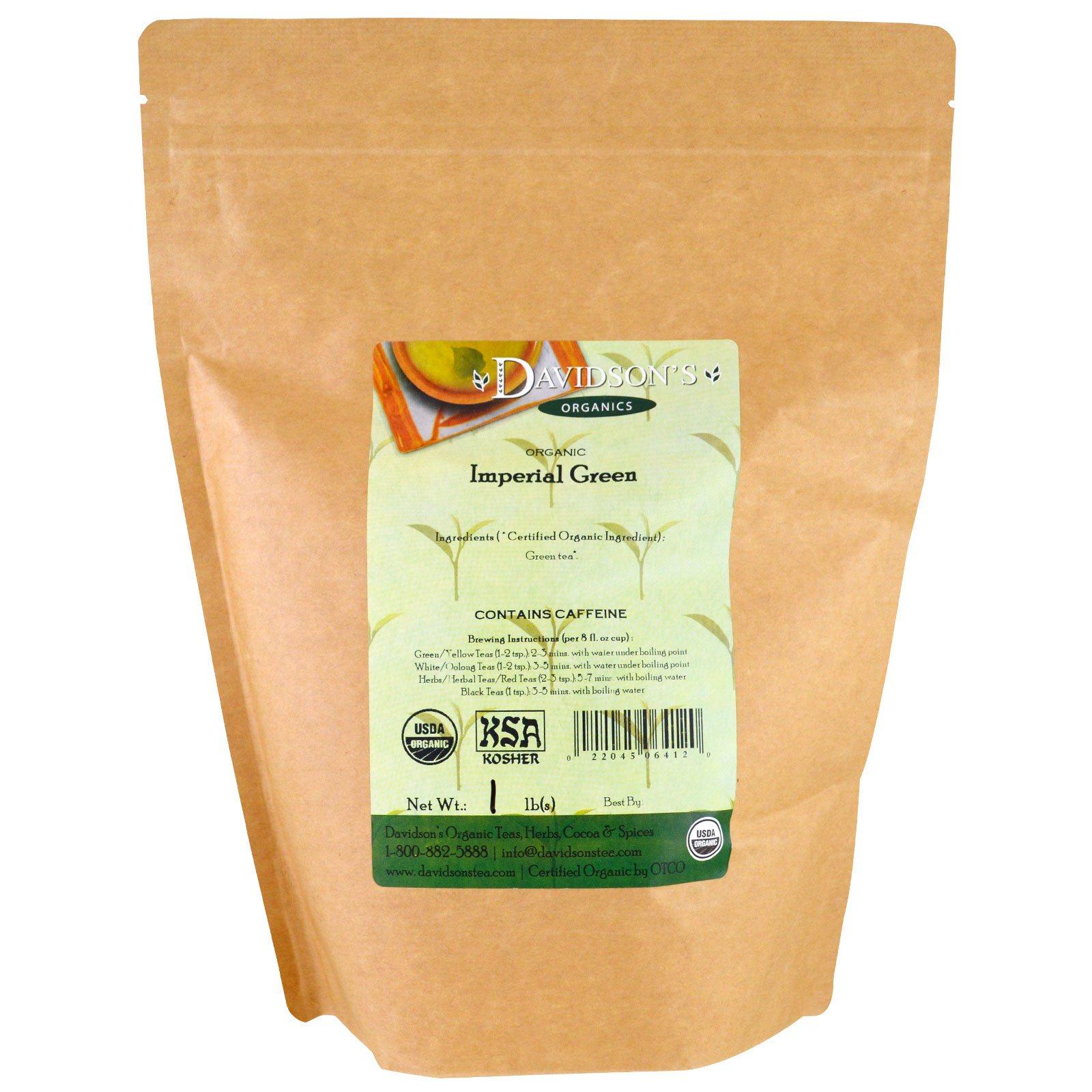 Davidson's Tea, Органический, Императорский зеленый чай, 1 фунт