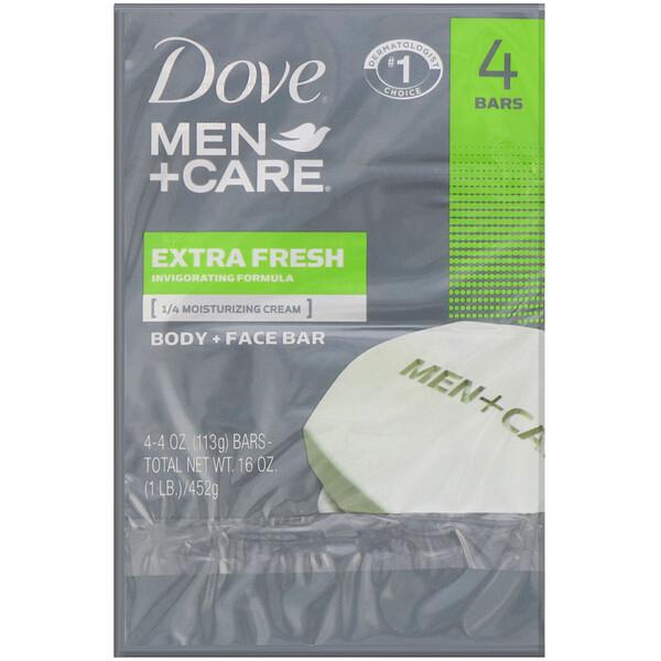Dove, Men+Care, Pain pour corps + visage, Fraîcheur ultra, 4pains de savon, 113g l'unité