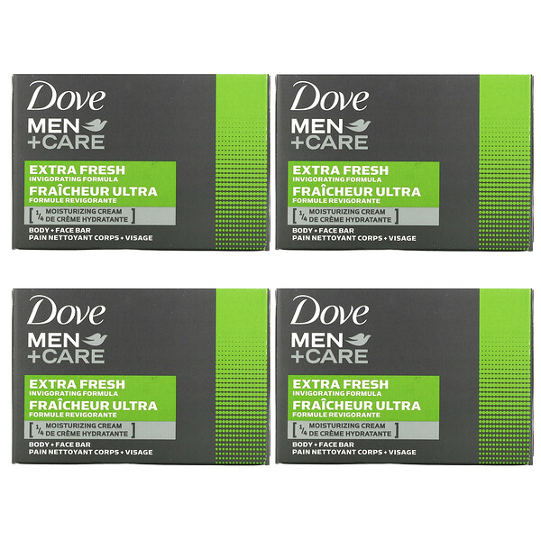 Dove, Men+Care, Body + Face Bar, Extra Fresh, 4 Bars, 3.75 oz (106 g) Each