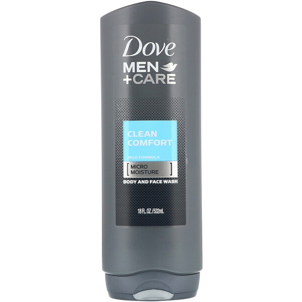 Dove, Men+Care, Clean Comfort, Body and Face Wash, 18 fl oz (532 ml)