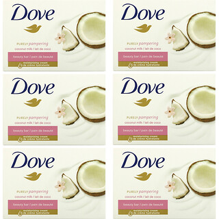 Dove, Purely Pampering Beauty Bar, Coconut Milk and Jasmine Petals, 6 Bars, 3.75 oz (106 g) Each