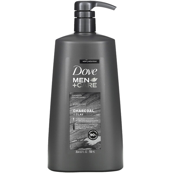 Dove, Men + Care, Shampoo, Purifying, Charcoal + Clay, 25.4 fl oz (750 ml)