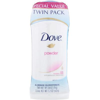 Купить Dove Invisible Solid Deodorant, Powder, 2 Pack, 2.6 oz (74 g) Each