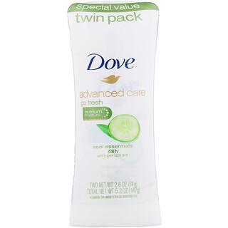 Dove, Advanced Care, Go Fresh, Anti-Perspirant Deodorant, Cool Essentials, 2 Pack, 2.6 oz (74 g) Each
