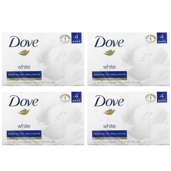 Dove, White Beauty Bar, 4 Bars, 3.75 oz (106 g) Each