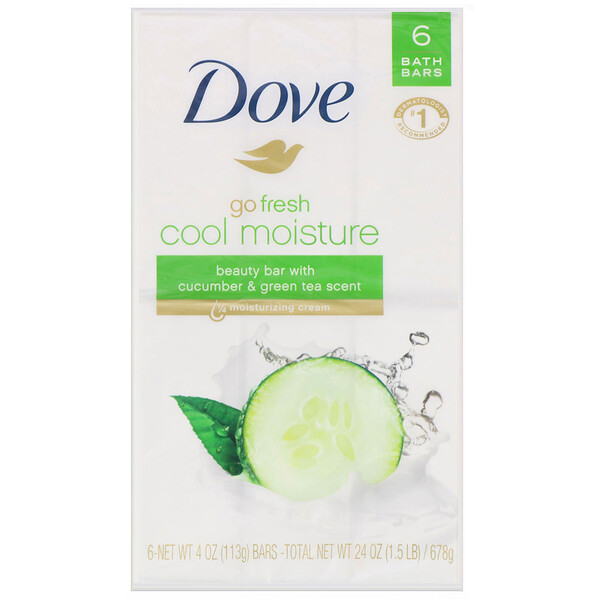 Go Fresh, Cool Moisture Beauty Bar, Cucumber & Green Tea, 6 Bars, 4 oz (113 g) Each