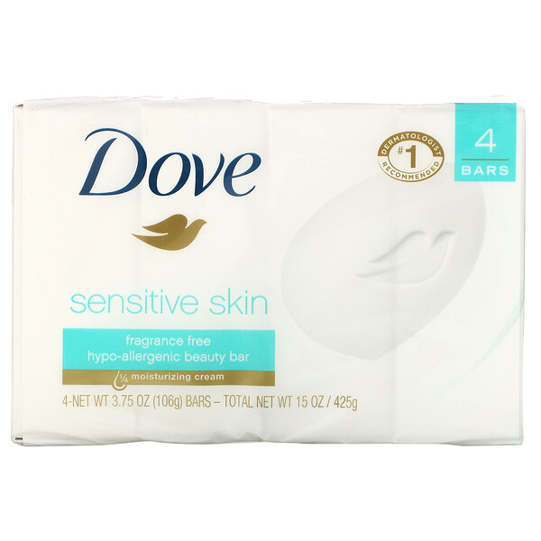 Dove, Sensitive Skin Beauty Bar, Fragrance Free, 4 Bars, 3.75 oz (106 g) Each