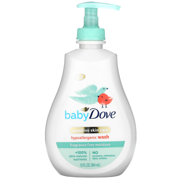 Baby, Sensitive Skin Care, Hypoallergenic Wash, Fragrance Free, 13 fl oz (384 ml)