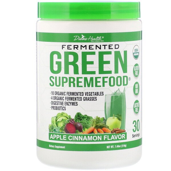 Divine Health, Fermented Green Supremefood, Apple Cinnamon, 7.40 oz (210 g) (Discontinued Item)