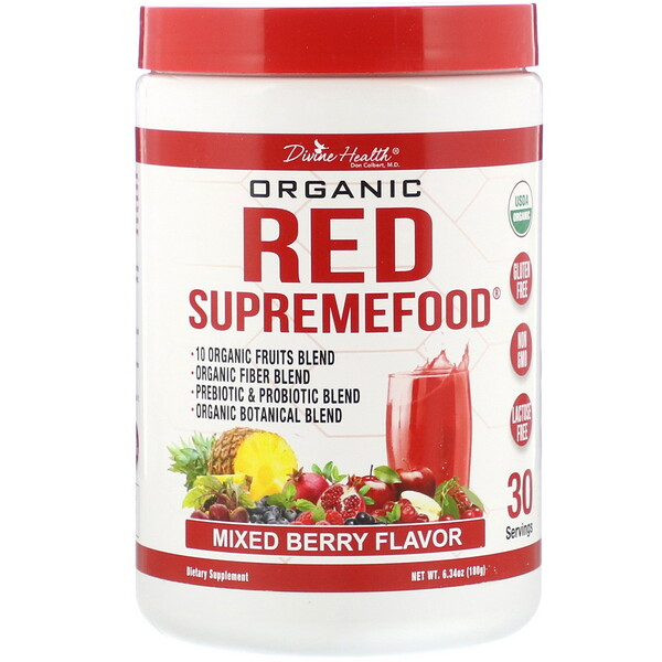 Divine Health, Organic Red SupremeFood, Mixed Berry, 6.34 oz (180 g) (Discontinued Item)