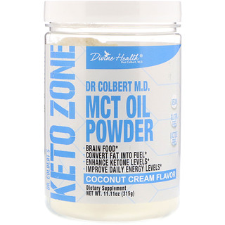 Divine Health, Dr. Colbert's Keto Zone, MCT Oil Powder, Coconut Cream Flavor, 11.11 oz (315 g)