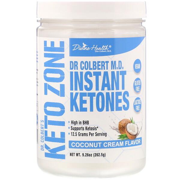 Divine Health, Dr. Colbert's Keto Zone, Instant Ketones, Coconut Cream, 9.26 oz (262.5 g) (Discontinued Item)