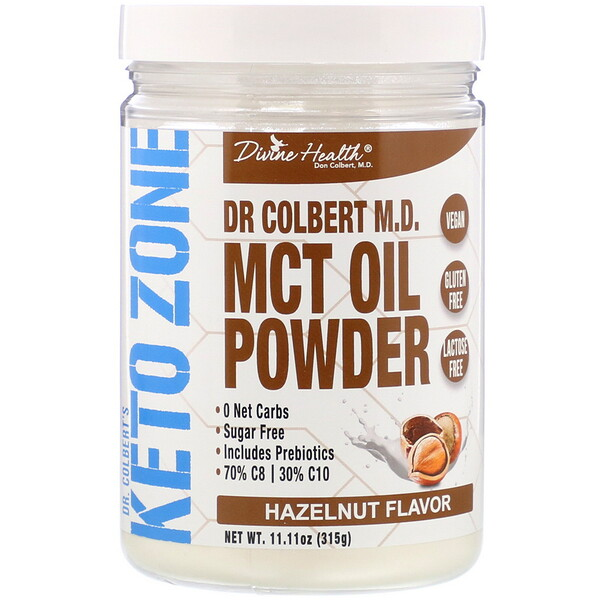 Divine Health, Dr. Colbert's Keto Zone, MCT Oil Powder, Hazelnut , 11.11 oz (315 g)