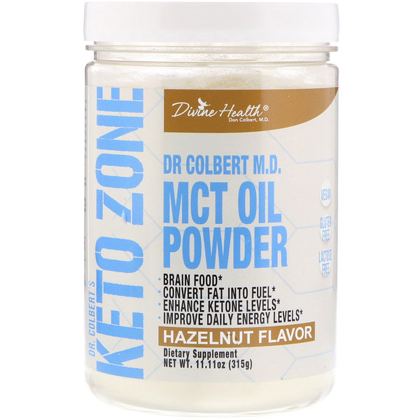 Divine Health, Dr. Colbert's Keto Zone, MCT Oil Powder, Hazelnut Flavor, 11.11 oz (315 g)