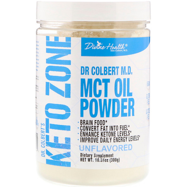 Divine Health, Dr. Colbert's Keto Zone, MCT Oil Powder, Unflavored, 10.58 oz (300 g)