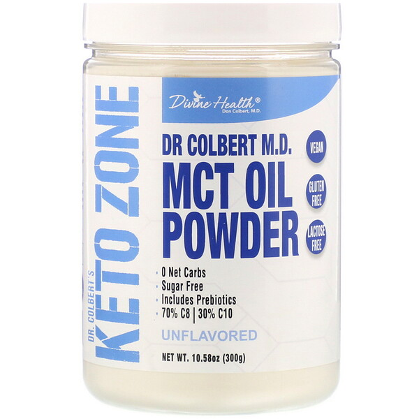 Divine Health, Dr. Colbert's Keto Zone, MCT Oil Powder, Unflavored, 10.58 oz (300 g) (Discontinued Item)