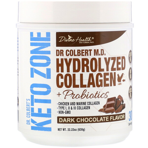 Divine Health, Dr. Colbert's Keto Zone, Hydrolyzed Collagen, Dark Chocolate, 22.22 oz (630 g) (Discontinued Item)