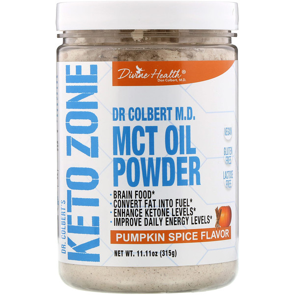 Divine Health, Dr. Colbert's Keto Zone, MCT Oil Powder, Pumpkin Spice , 11.11 oz (315 g) (Discontinued Item)