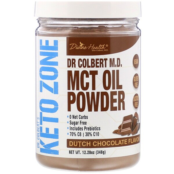 Divine Health, Dr Colbert's Keto Zone, MCT Oil Powder, Dutch Chocolate , 12.28 oz (348 g) (Discontinued Item)