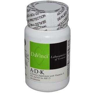 DaVinci Laboratories of Vermont, A•D•K, 60粒 膠囊