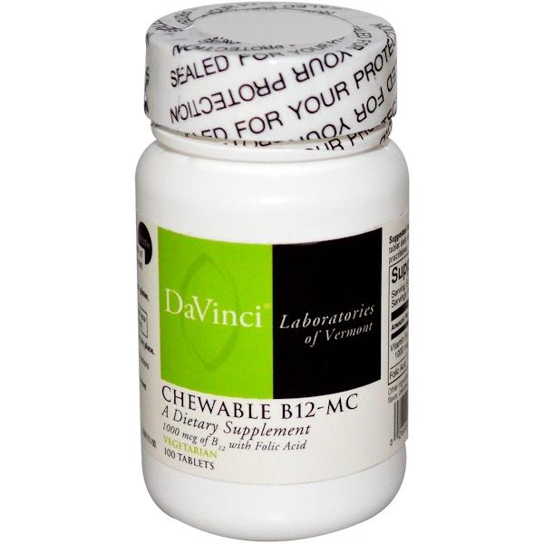 DaVinci Laboratories of Vermont, Жевательные B12-MC 100 таблеток (Discontinued Item)