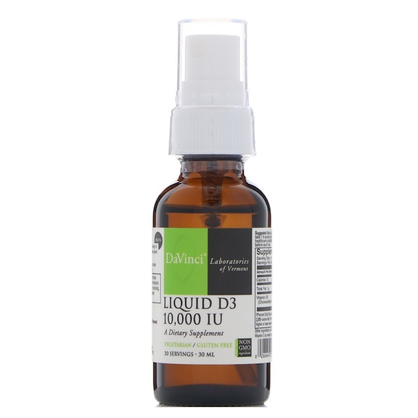 DaVinci Laboratories of Vermont, D3 líquido, 10.000 IU, 30 ml