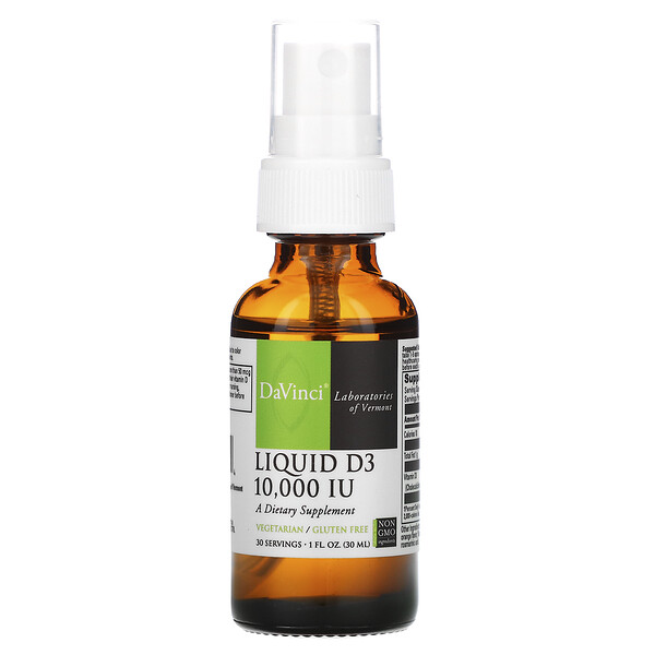DaVinci Laboratories of Vermont, Liquid D3, 10,000 IU, 30 ml