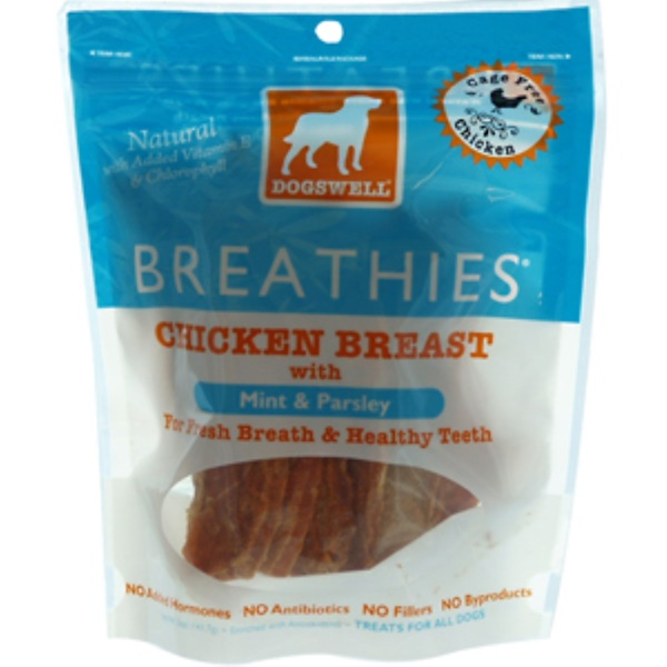 Dogswell, Breathies, Chicken Breast with Mint & Parsley, Treats for All Dogs, 5 oz (141.7 g) (Discontinued Item)