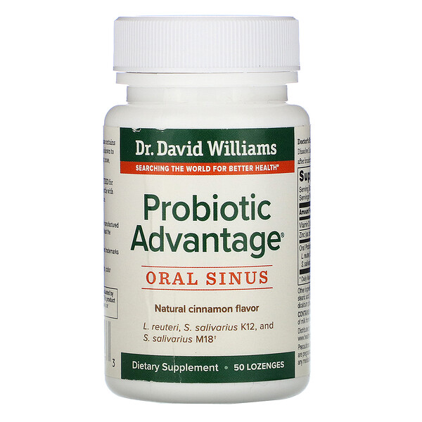 Dr. Williams, Probiotic Advantage, Oral Sinus, Natural Cinnamon Flavor, 50 Lozenges