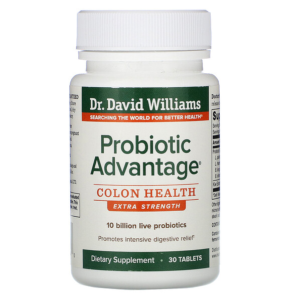 Dr. Williams, Probiotic Advantage, Colon Health, Extra Strength, 30 Tablets