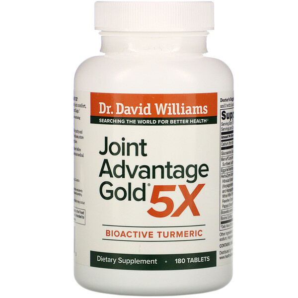 Dr. Williams, Joint Advantage Gold 5X,  BioActive Turmeric, 180 Tablets