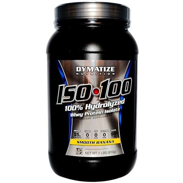 Dymatize Nutrition, • ISO 100, 100 % гидролизованный изолят сывороточного протеина , Банан 2 фунта (910 г) (Discontinued Item)