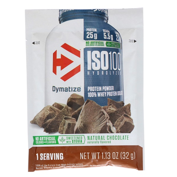 Dymatize Nutrition, ISO100 Hydrolyzed, 100% Whey Protein Isolate, Natural Chocolate, Trial Size, 1.13 oz (32 g)