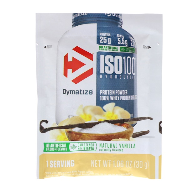 Dymatize Nutrition, ISO100 Hydrolyzed, 100% Whey Protein, Natural Vanilla, Trial Size, 1、06 oz (30 g)