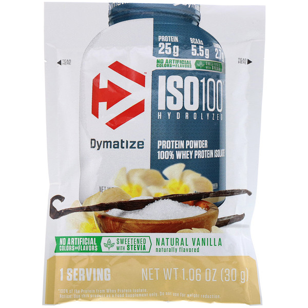 Dymatize Nutrition, ISO100 Hydrolyzed, 100% Whey Protein Isolate, Natural Vanilla, Trial Size, 1.06 oz (30 g)