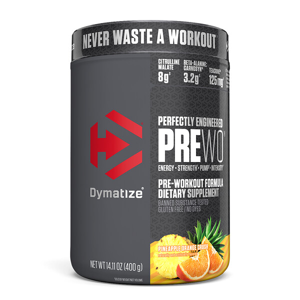 Dymatize Nutrition, Perfectly Engineered Pre WO,鍛鍊前配方,鳳梨橙汁,14.11 盎司(400 克)