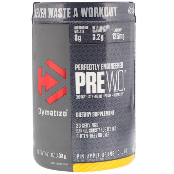 Dymatize Nutrition, Pre-W.O., Pineapple Orange Crush, 14.11 oz (400 g)