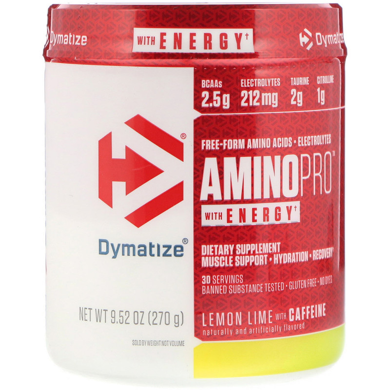 AminoPro with Energy, Lemon Lime with Caffeine, 9.52 oz (270 g)